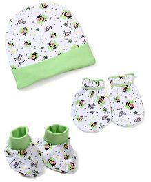 Morison Baby Dreams Bee Printed Cap Mittens Booties - Green