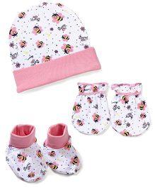 Morison Baby Dreams Bee Printed Cap Mittens Booties - Pink
