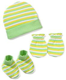 Morison Baby Dreams Striped Cap Mittens Booties - Green
