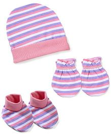 Morison Baby Dreams Striped Cap Mittens Booties - Pink