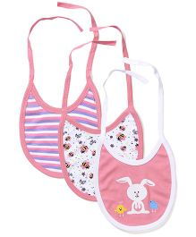 Morison Baby Dreams Multi Printed Set Of 3 Tie Up Bibs - Pink