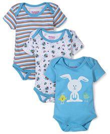 Morisons Baby Dreams Multi Printed 3 Onesies - Blue & White