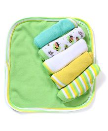 Morisons Baby Dream Multi Print Face Towel - Set Of 6