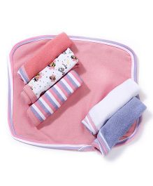 Morisons Baby Dream Multi Print Face Towel Set Of 6 - Pink & Multi Color