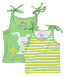 Morison Baby Dream Singlet Jhablas In Bunny & Stripe Print Set Of 2 - Green