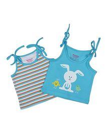 Morison Baby Dreams Singlet Slips Stripe And Bunny Print Set Of 2 - Blue & White