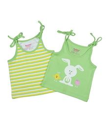 Morison Baby Dreams Singlet Slips Stripe And Bunny Print Set Of 2 - Green Yellow