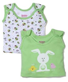 Morison Baby Dreams Sleeveless Bee And Bunny Printed Set Of 2 Jhabla Vests - Green & White