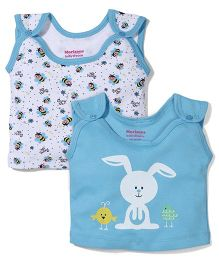 Morison Baby Dreams Sleeveless Bee And Bunny Printed Set Of 2 Jhabla Vests - Blue & White