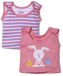 Morisons Baby Dreams Sleeveless Striped And Bunny Printed Jhabla Vests Set of 2 - Pink & White