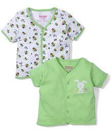 Morisons Baby Dreams Half Sleeve Vest Set of 2 - Green