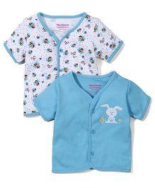 Morison Baby Dreams Half Sleeves Bee & Bunny Printed Set Of 2 Jhabla Vests - Blue & White