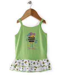 Morisons Baby Dreams Singlet Slip With Frilled Bottom - Green And White