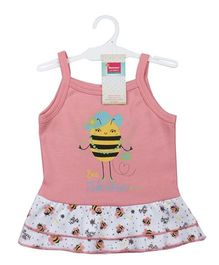 Morisons Baby Dreams Singlet Slip With Frilled Bottom Honey Bee Print  - Pink And White