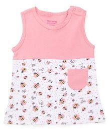 Morisons Baby Dreams Sleeveless Frock Honey Bee Print - Pink White
