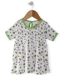Morisons Baby Dreams Short Sleeves Frock Honey Bee Print - White Green