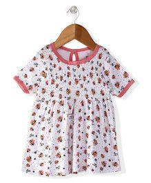 Morisons Baby Dreams Short Sleeves Frock Honey Bee Print - White Pink