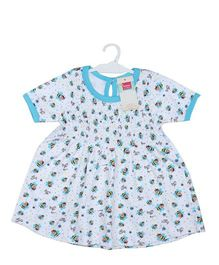 Morisons Baby Dreams Short Sleeves Frock Honey Bee Print - White Blue