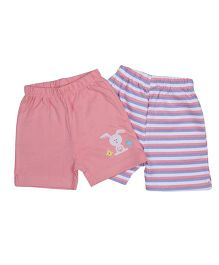 Morisons Baby Dreams Shorts Bunny & Strips Print Pink - Set of 2