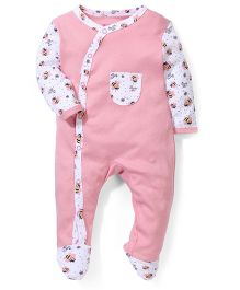 Morisons Baby Dreams Footed Romper Honey Bee Print - Pink