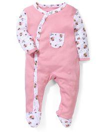 Morisons Baby Dreams Footed Romper Honey Bee Print - Pink