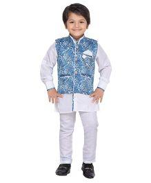 AJ Dezines Kurta Waistcoat And Breeches Set - Blue And White