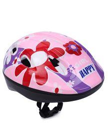 Kids Helmet Happy And Flower Print - Pink
