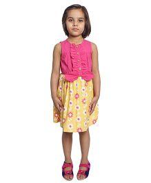 Nino Bambino Organic Cotton Sleeveless Dress Floral Print - Pink And Yellow