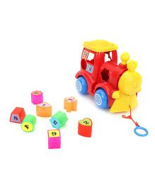 Pull Along Cum Shape Sorter Toy - Red Yellow