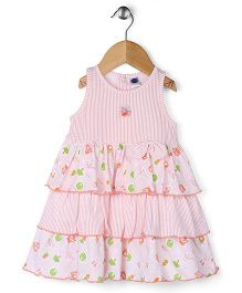 Teddy Sleeveless Layer Frock Bow Applique - Light Pink