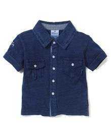 Ollypop Half Sleeves Solid Colour Shirt - Navy Blue