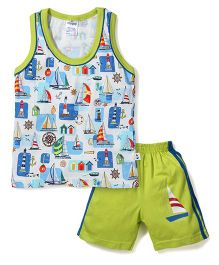 Ollypop Sleeveless T-Shirt And Shorts Multiprint - White Green