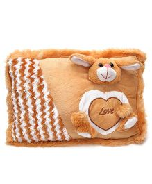 Tickles Rabbit Applique Soft Toy Cushion - Brown