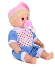 Baby Doll With Dotted Outfit Blue -7 Inches