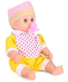 Baby Doll With Dotted Outfit Yellow - 7 Inches