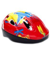 Kids Helmet Aeroplane Print - Red
