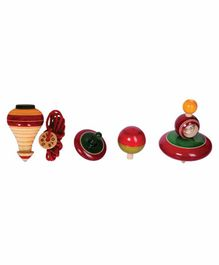 Desi Toys Classic Spinning Tops - Set of 4