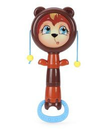 Baby Rattle Cartoon Face Print Dark Brown - 7 Inches