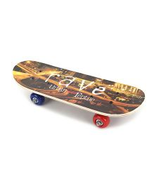 Skateboard Rave Print - Brown Yellow