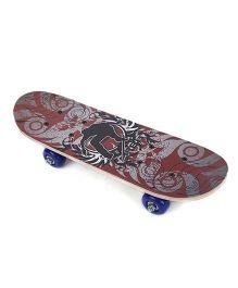 Skateboard Guy Print - Grey Maroon