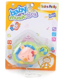 Helicopter Shaped Musical Pull String Toy Bear Design - Green Peach