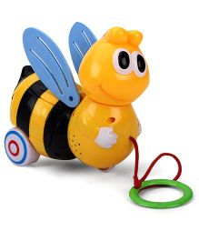 Honey Bee Shaped Pull Along Musical Toy - Yellow Black