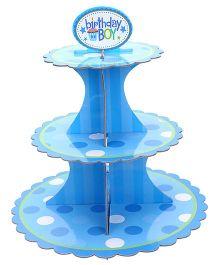 Shopaparty 3 Tier Birthday Boy Cupcake Stand - Blue