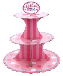 Shopaparty 3 Tier Birthday Girl Cupcake Stand - Pink