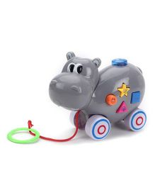 Hippo Shaped Pull Along Musical Toy - Grey