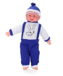 Kids Zone Laughing Doll Rabbit Print Blue - 15 Inches