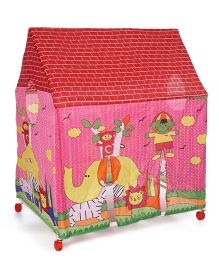 Kids Zone Animal Print Tent House - Pink Yellow