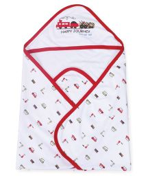 Doreme Hooded Wrapper Train Print - Off White Red