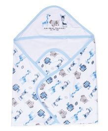 Doreme Hooded Wrapper Animal Print - Off White Sky Blue