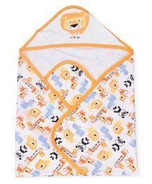 Doreme Hooded Wrapper Animal Print - White Light Orange